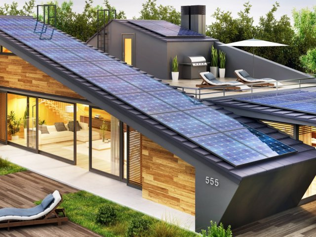 Beautiful modern house with a rooftop terrace and solar panels. Exterior and interior design of a luxury house with a pool
